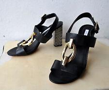 Diane Von Furstenberg DVF Black Leather Sandals Heels Sz 8.5 AsNew Rare Sold Out