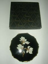 STRATTON FLORAL BLACK & GOLD COMPACT IN ORIGINAL BOX
