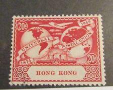 HONG KONG Scott 161 Θ used 20 cent 1949, UPU, mute cancel , fine + 102 card