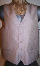 "Sz M MICHAEL BRANDON TAUPE EMBROIDERED VEST 5-Button Satin Lining/Back 43"" Chest"