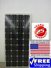 1- 175  Watt 12 Volt Battery Charger Solar Panel Off Grid RV Boat 175 watt total