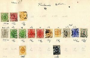 Stamps of Finland: 39 stamps from 100 or so years ago at the end of Russian rule