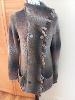 Cabi Brown Duster Cardigan Fringe Double Breasted Knit Sweater Cowl Medium M