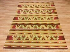Ethnic Traditional Handwoven Indian Wool Kilim Rug Rust Yellow 171x242cm 60 off