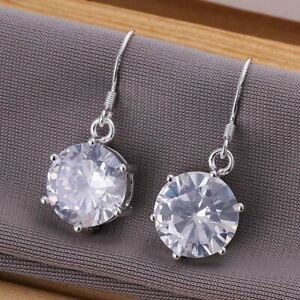925  Sterling Silver Plated Cubic Zirconia Drop Earrings  + Gift Bag