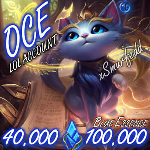❧ OCE League of Legends LOL Account 40.000💕100.000 BE Unranked Smurf Level 30 ☙