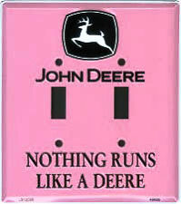 JOHN DEERE Double Light Switch Plate Cover PINK metal home wall decor girl room
