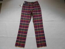 MOSCHINO CHEAP AND CHIC NWT $325 SILK MULTI-COLOR PLAID DRESS PANTS SZ 4