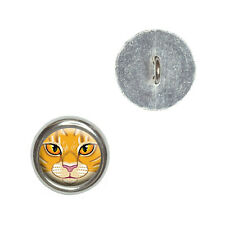 Orange Tabby Cat Face - Pet Kitty - Metal Craft Sewing Novelty Buttons Set of 4