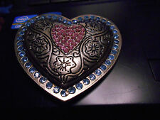 aa. Belt Buckle  Heart Shape Blue Pink Embellishments