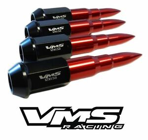 """20PC TRUE SPIKE 112MM 9/16"""" FORGED STEEL LUG NUTS W/ RED EXTENDED BULLET SPIKES"""