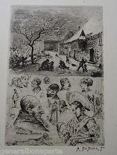 Alfred Du MONT (1828-1894) GRAVURE EAU FORTE ORIGINALE PERSONNAGES SUISSE GENEVE