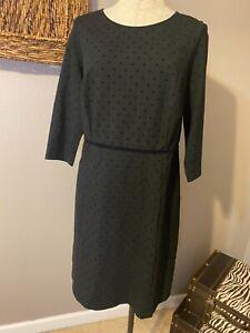 Talbots Black Dots on Black Long Sleeve Dress 14WP