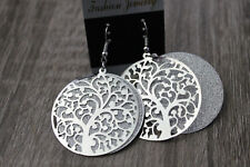 Fashion Coloured Silver Round Tree of Life Drop Earrings