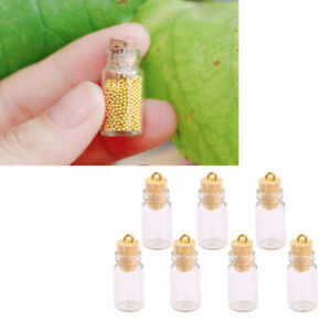 10pcs Small Vials Cork Miniature Clear Glass &Mini Glass Bottles DIY Necklace