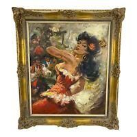 Vintage Oil Painting Ornate Gold Gilded Frame Spanish Dancer Seductive 30 X 26