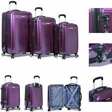 "New ""Dejuno"" Polycarbonate Upright HardShell Suitcases Luggages 3 pc/set -Purple"