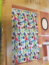 Bubble Gum Circles Dot White Pink Teal Lime Green Pink Bath Shower Curtain NEW