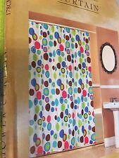 Bubble Gum Circles Dot White Pink Teal Lime Green Bath Shower Curtain NEW