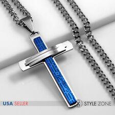 Stainless Steel Bible Scriptures Jesus Blue Cross Pendant Cuban Curb Necklace 2A