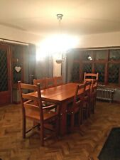 Solid Oak Refectory Chunky Dining Table Farmhouse Coach House 8 Seater 10 Chairs