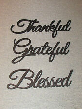 Greatful Thankful Blessed Wood Wall Words Art Decor