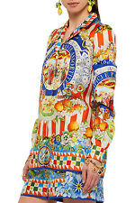 Bnwt £908 DOLCE & GABBANA Authentic NEW !! Pure Silk CARRETTO SICILY TOP 38 IT