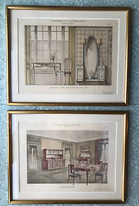 Vintage pair of gold framed pictures of French Interior illustrations