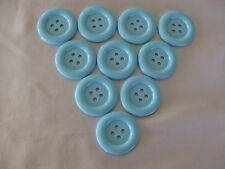10 LARGE BLUE ROUND  BUTTONS 35MM DIAMETER - NEW