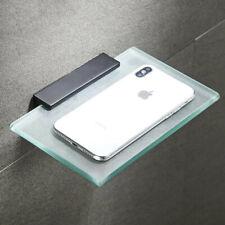 Shower Caddy Black Aluminum Bathroom Shelf Wall Mounted Phone Holder Glass Shelf
