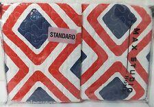 New - Max Studio Set of (2) Standard Pillow Shams White/Red-Blue Diamond/Square