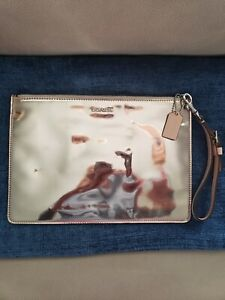 New Coach Legacy Rose Gold Metallic Envelope Leather Clutch