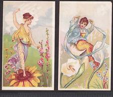 Antique Greek Goddess Flower Fairy 1800's Fantasy 125+ yr old 2x Whimsical Cards