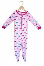 SIZE 4 girls PINK w/HORSES One Piece zip up cotton Pj/pajama sleeper - LEVERET