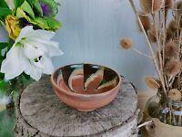 Vintage Handmade Terracotta glazed bowl, potpourri house plant.