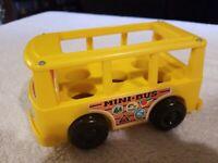Vintage 1969 Fisher Price Little People Yellow Mini School Bus