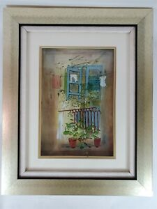 Flowers On Balcony 3D Glass Serigraph Painting Jean Pierre Weill Limited 82/450
