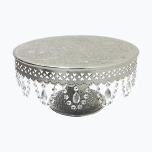 "GiftBay Wedding Cake Stand Pedestal Round 16"", Aluminum Silver, Glass Crystals"