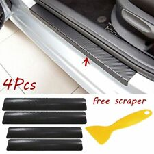 4Pcs 3D Carbon Fiber Car Door Pedal Plate Sill Scuff Cover Anti Scratch & Tool