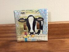 USED COW DESIGN DOUBLE LIGHT SWITCH COVER