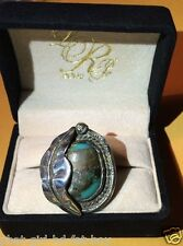 Classic! Sterling Silver .925 Vintage TURQUOISE w/Feather Ring 15.9g - Size 9.5