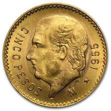 1905-1955 AU+ .900 Gold Mexican 5 Pesos Random Years Bullion Coins From Mexico