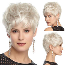 Women Gradient White Short Curly Wig Synthetic Wavy Hair Heat Resistant Wig
