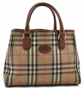 Authentic Burberrys Nova Check Shoulder Tote Bag Canvas Leather Beige C8315