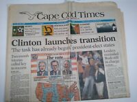 CAPE COD TIMES MA NEWSPAPER Nov. 5 1992 CLINTON LAUNCHES TRANSITION Bush Perot