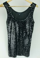 Banana Republic Sequin Sz M Knit Tank Top Sleeveless Black Party Women's