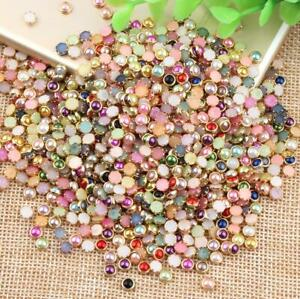 100pc Mixed Half Round Faux Pearls with Metal Edge Nail Art DIY Accessories 4mm