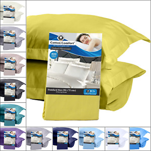 100% Egyptian Cotton 400 Thread Count House Wife / Oxford Pillow Cases Pack Of 2