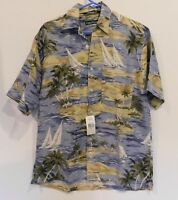 "NWT Nautica Linen/Rayon Hawaiian Camp Shirt Sz S Chest 42/44"" Orig. $80"