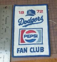 vintage - 1972 los angeles dodgers fan club PATCH PEPSI 3.5 X 4  - New Old Stock